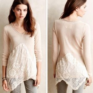 Anthropologie Angel of the North Lace Hem Sweater